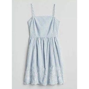 Gap Blue White Stripe Eyelet Fit Flare Cami Dress